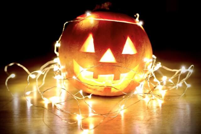 jack-o-lantern with Christmas lights
